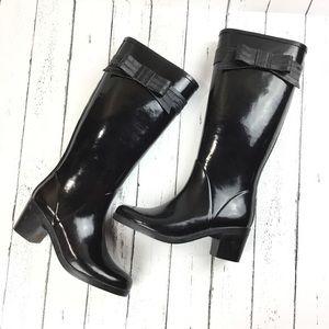 Kate Spade Bow Embellished Black Rain Boots Size 7